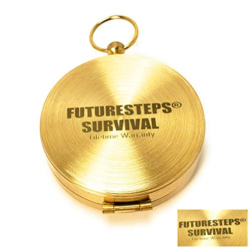 FUTURESTEPS  4 FUTURESTEPS Brass Compass - Includes Solid Brass Whistle - New Version - Survival Set - 105 Decibels - Survival Kit - Solid Brass Compass - Carry in Pocket or on Necklace - Two Pieces