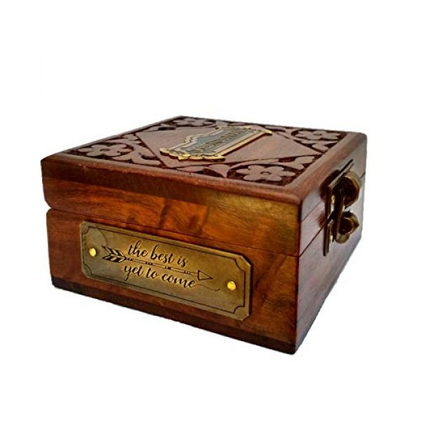Antiqula Survival Compass 4 Brass Compass Handmade Gift Pocket with Rosewood Box Waterproof Anti Shock Outdoor Ship Camping Hiking Antique Compass Navigation Tool and Vintage Home Decor Wooden Carving Box