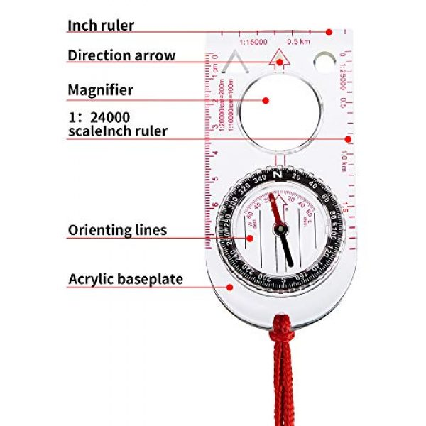 Gejoy Survival Compass 3 Gejoy 6 Pieces Navigation Backpacking Compass Orienteering Hiking Compass Adjustable Map Reading Compass for Boy Scout Kids Outdoor Camping (Style 2)