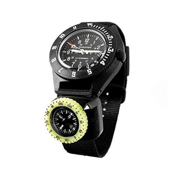 Marathon Survival Compass 12 Marathon Watch Clip-On Wrist Compass with Glow in The Dark Bezel. Northern Hemisphere Version - CO194005