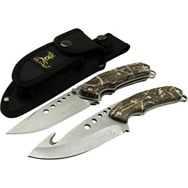 Elk Ridge Fixed Blade Survival Knife 3 Elk Ridge - Outdoors Hunting Knife Set- 2 PC Fixed Blade and Folding Knife Set, Satin Finished Stainless Steel Blades, Camo Coated Handles, Includes Combo Nylon Sheath - Hunting, Camping, Survival - ER-054CA