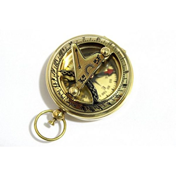 THORINSTRUMENTS Survival Compass 4 THORINSTRUMENTS (with device) Brass Push Button Direction Sundial Compass - Pocket Sundial Compass