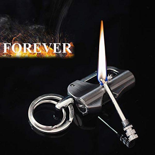 Fancyspark Survival Fire Starter 5 Permanent Metal Match Lighter Forever Carabiner Keychain Lighter Waterproof Match EDC Emergency Matchstick Survival Flint Fire Starter with Bottle Opener (Fuel Not Included)