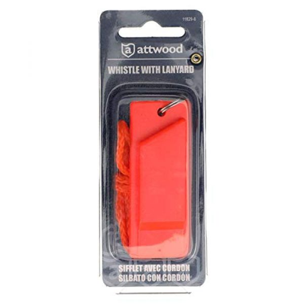 attwood Survival Whistle 7 Attwood 11829-6 Safety Whistle, Plastic, Flat Type, No Interior Ball, Delivers Emergency Signal, Includes Lanyard