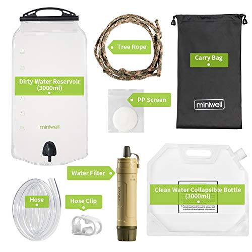 miniwell  2 miniwell Gravity Water Purifier Straw Fairly Light and Easily Packed. Multi Use for Group Camping and Famliy Emergency Prepardness