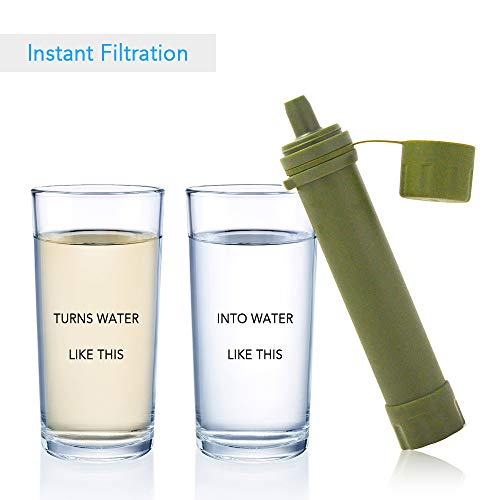 Lixada  4 Lixada Straw Water Filter Survival Filtration Portable Emergency Water Purifier for Hiking Camping Travel Outing Water Supply Preparedness