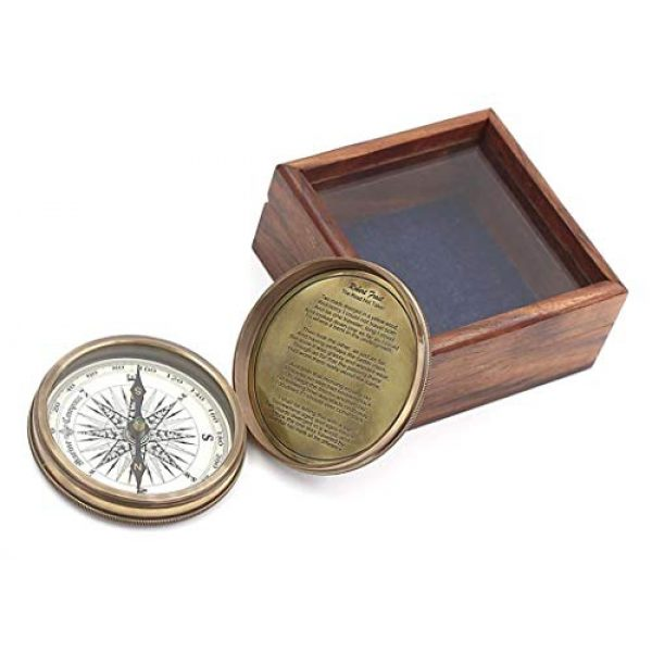 """Roorkee Instruments India Survival Compass 2 ROORKEE INSTRUMENTS (INDIA) A NAUTICAL REPRODUCTION HOUSE 3"""" Robert Frost Poem Compass with Glass Top Hardwood Box"""