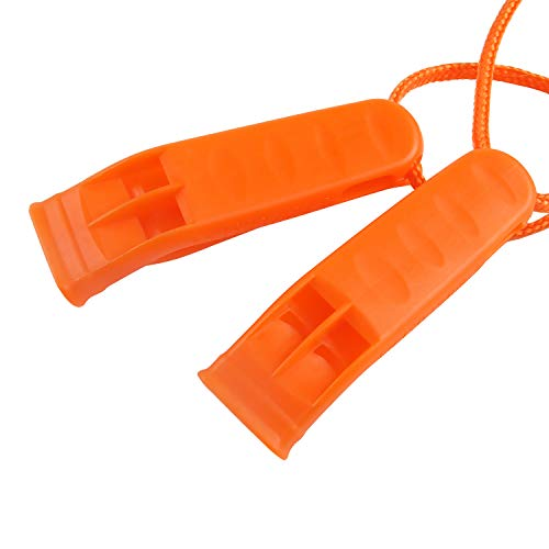 Augsun  4 Augsun 10 Pcs Safety Whistle Marine Whistle Plastic Whistles with Lanyard for Emergency