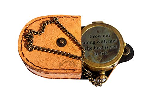 MAH Survival Compass 4 MAH Grow Old with ME Engraved Brass Compass ON Chain with Leather CASE, Directional Magnetic Compass. C-3273