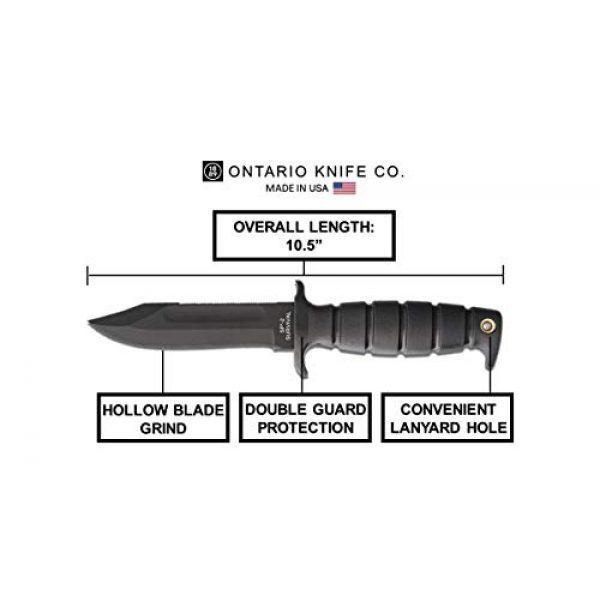 """Ontario Knife Company Fixed Blade Survival Knife 4 Ontario Knife Company SP2 Air Force Survival Fixed Blade Knife 5.5"""" Drop Point 1095 Black Carbon Steel Blade Kraton Handle Black for Outdoor, Tactical, Survival, and EDC"""