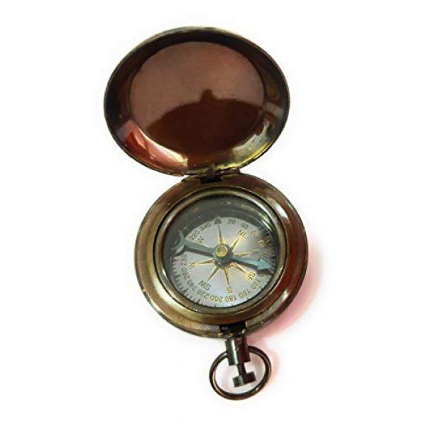 NauticalMart Survival Compass 3 Brass Compass Nautical Collectible Antique Engraving Rose London Gift for Boyfriend Father,Wedding Favor-Best Men -Valentine's Day