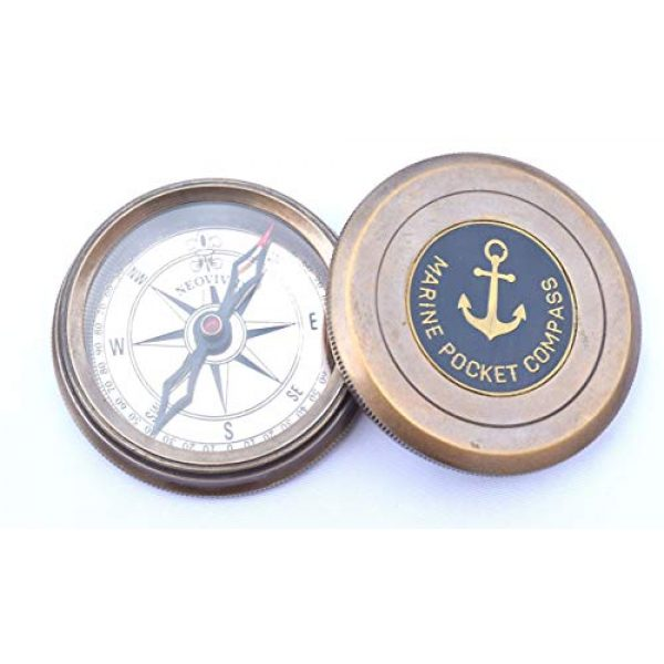 NEOVIVID Survival Compass 2 NEOVIVID Robert Frost Poem Engraved Brass Compass with Leather Case, The Road Not Taken Compass