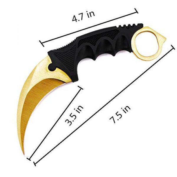 WeTop Fixed Blade Survival Knife 2 WeTop Karambit Knife, CS-GO for Hunting Camping Fishing Self Defenses and Field Survival, Stainless Steel Fixed Blade Tactical Knife with Sheath and Cord (Pure Gold).