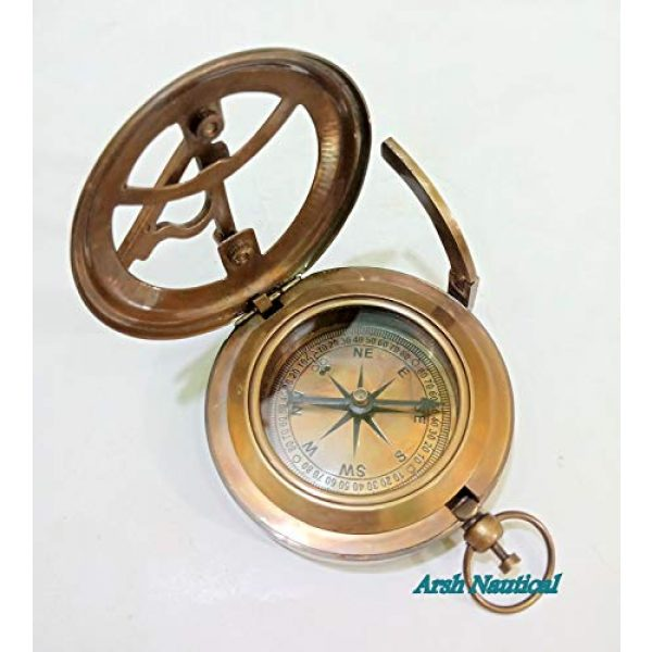 Aysha Nautical Survival Compass 5 Aysha Nautical Gifts for Husband/Nautical Collectibles Brass Sundial Compass with Handmade Leather Case