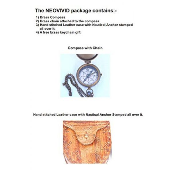 NEOVIVID Survival Compass 5 NEOVIVID Grow Old with ME Engraved Brass Compass ON Chain with Leather CASE, Directional Magnetic Compass