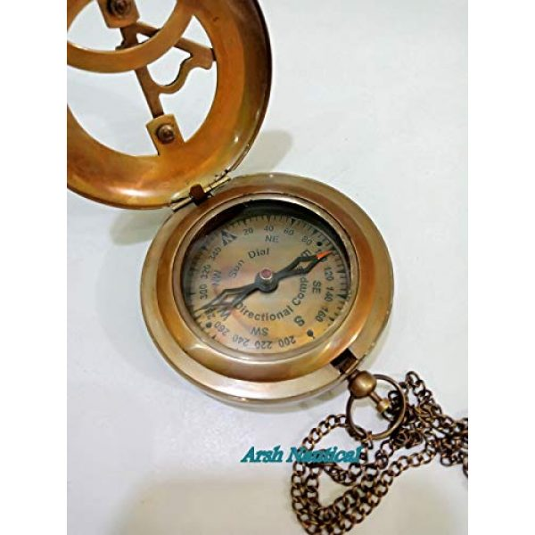 Aysha Nautical Survival Compass 4 Aysha Nautical Brass Sundial Compass with Leather Case and Chain - Push Open Compass - Steampunk Accessory - Antiquated Finish - Beautiful Handmade Gift -Sundial Clock