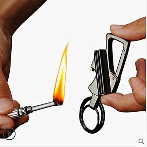 UNKNOK Survival Fire Starter 5 UNKNOK Keychain Multitool with Flint Metal Matchstick Fire Starter and Bottle Opener, Great Kerosene Refillable Lighter, EDC Gift Ideas and Emergency Survival Gear