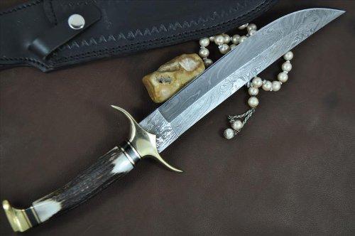 Perkin Knives  2 Handmade Damascus Steel Hunting Knife - Beautiful Bowie Knife - Amazing Value