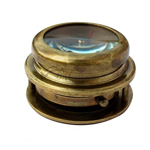 MAH Survival Compass 5 MAH Magnifying Glass Brass Compass with Case. C-3259