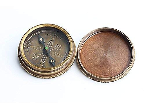 Roorkee Instruments India Survival Compass 4 Roorkee Vintage Brass Compass with Leather Case/J.R.R. Tolkien Directional Magnetic Compass for Navigation/Tolkien Compass for Camping, Hiking, Touring/Gift for Him