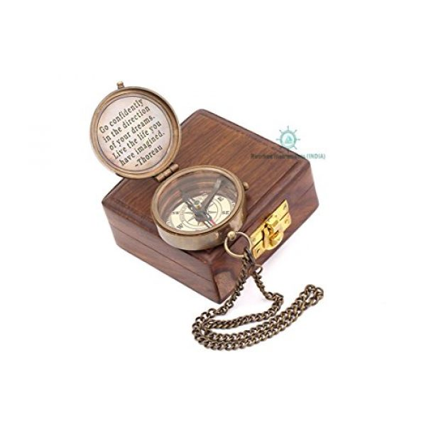 Roorkee Instruments India Survival Compass 2 Brass Compass,Gift Compass, Camping Compass, Nautical Compass,Personalized Compass,Baptism Gift, Engraved Compass