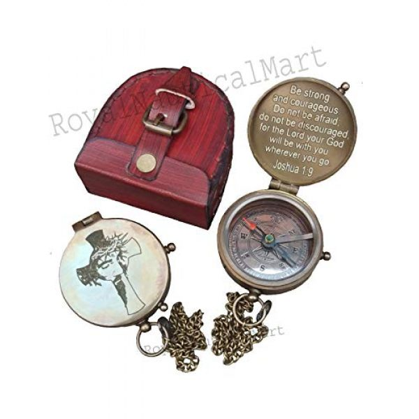 Royalmart Survival Compass 7 Royalmart Antique Compass Be Strong and Courageous Verse with Joshua Cross Engraved on Working Compass, Confirmation Gift Ideas, Graduation Gifts, Faith Gift, Vintage Gift