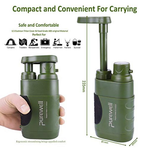 Purewell Survival Water Filter 2 Purewell Water Purifier Pump with Replaceable Carbon 0.01 Micron Water Filter, 4 Filter Stages, Portable Outdoor Emergency and Survival Gear - Camping, Hiking, Backpacking