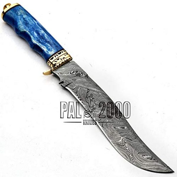 PAL 2000 KNIVES Fixed Blade Survival Knife 5 Damascus Knives - Stained Camel Bone Handle - 13 Inches - Handmade Damascus Steel Knife With Leather Sheath - Fixed Blade - New Pattern Blade Sharp Edge 9713