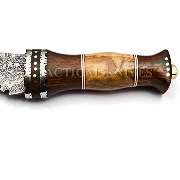 Bladess Fixed Blade Survival Knife 3 Damascus Steel Hunting Kukri Knife-Fixed Blade Knives with Sheath - Hunting Knife with Beautiful Wood Handle Brass Guard Hand Made Damascus Knife for Hunting, Camping. Survival and Tactical