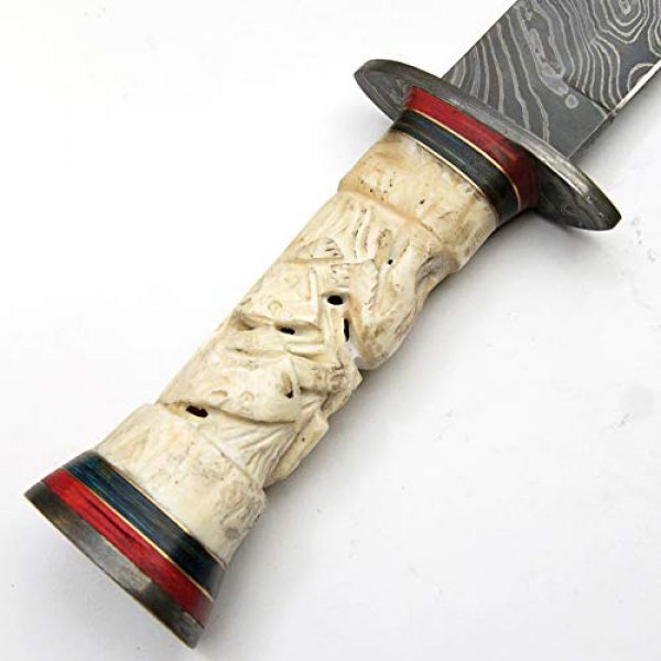 PAL 2000 KNIVES Fixed Blade Survival Knife 6 Custom Handmade Damascus Steel Hunting Bowie Knife -Sword/Chef Kitchen Knife/Dagger/Full Tang/Axe/Billet/Cleaver/Bar/Folding Knife/Knives Accessories/Survival/Camping with Sheath 9338