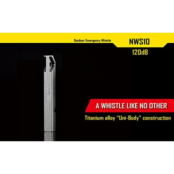 Nitecore Survival Whistle 2 Nitecore NWS10 TC4 Titanium Outdoor Emergency Whistle 120 Decibeles (NWS10 Emergency Whistle)