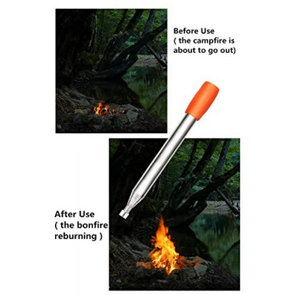 Kasego Survival Fire Starter 2 Kasego Retractable with Blowing Mouth Sheath, 31.50 inch Total Length, Fire Tube, Reflective Belt, Lanyard Storage Bag, Fire Tube