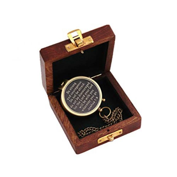 Roorkee Instruments India Survival Compass 4 Roorkee Instruments India Be Strong and Courageous Do not be Afraid,Engraved Compass W/Wood Case, Confirmation Gift Ideas, Baptism Gifts