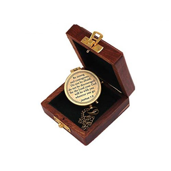 Roorkee Instruments India Survival Compass 5 Roorkee Instruments India Compass with Scripture Joshua 1:9 is Engraved,Engraved Compass W/Wood Case, Confirmation Gift Ideas, Baptism Gifts