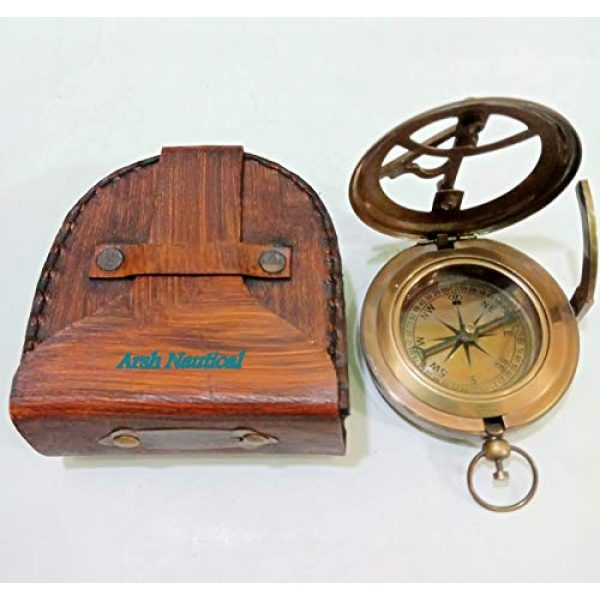 Aysha Nautical Survival Compass 4 Aysha Nautical Gifts for Husband/Nautical Collectibles Brass Sundial Compass with Handmade Leather Case