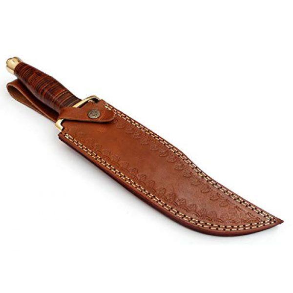 SharpWorld Fixed Blade Survival Knife 6 SharpWorld 15 Inches Custom Damascus Hunting Knife Exotic Handle w/Leather Sheath TJ116