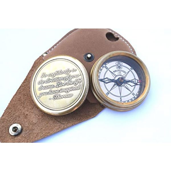 NEOVIVID Survival Compass 4 NEOVIVID Go Confidently Quote Engraved Twist Open Brass Pocket Compass with Leather Case, Directional Magnetic Navigational Compass, Nautical Compass