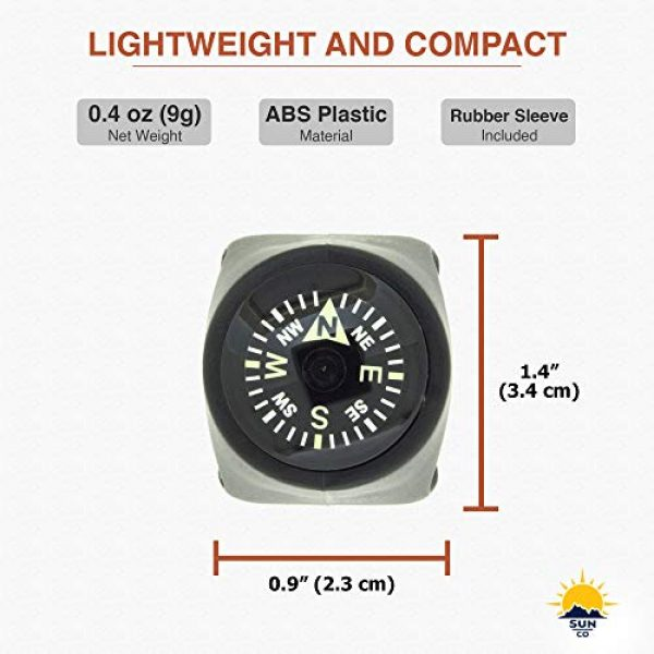 Sun Company Survival Compass 6 Sun Company Clip-On Compass for Bikes | Handlebar Compass for Bicycle, Motorcycle, ATV, or Snowmobile