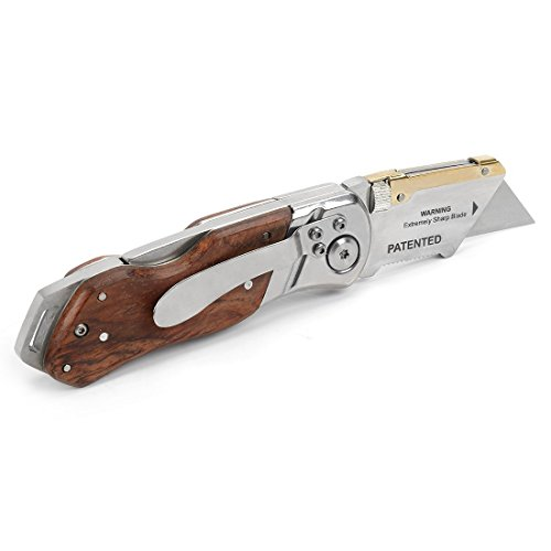 WORKPRO  3 WORKPRO Folding Utility Knife Wood Handle Heavy Duty Cutter with Extra 10-piece Blade