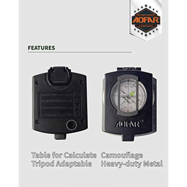 AOFAR Survival Compass 3 AOFAR AF-4580 Military Black Compass Lensatic Sighting Navigation, Waterproof and Shakeproof with Map Measurer Distance Calculator, Pouch for Camping, Hiking, Hunting, Backpacking