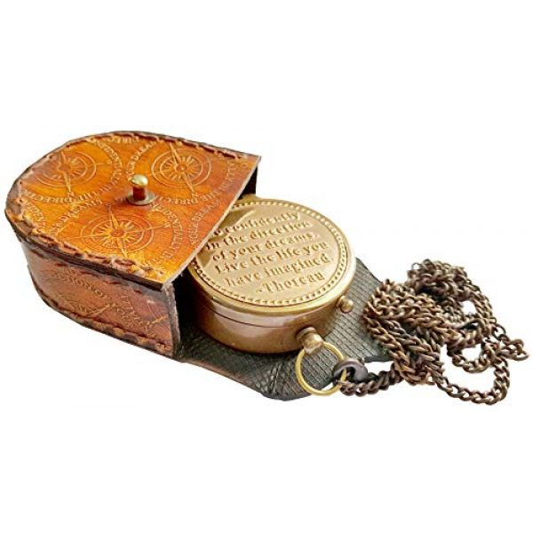 Brass Nautical Survival Compass 2 Brass Nautical Thoreau's Go Confidently Embossed Solid Brass Compass with Leather Case