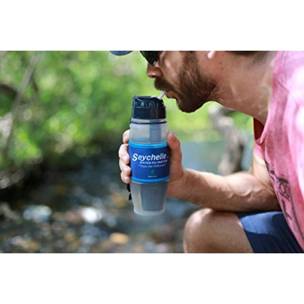 Seychelle Survival Water Filter 7 Seychelle Extreme Water Filter Bottle - Camping, Travel, Hiking, Backpacking, Survival and Emergency - Removes Bacteria, Viruses, Radiological Contaminants - 28 oz
