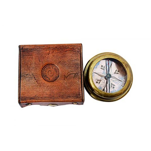 MAH Survival Compass 6 MAH Magnifying Glass Brass Compass with Case. C-3259