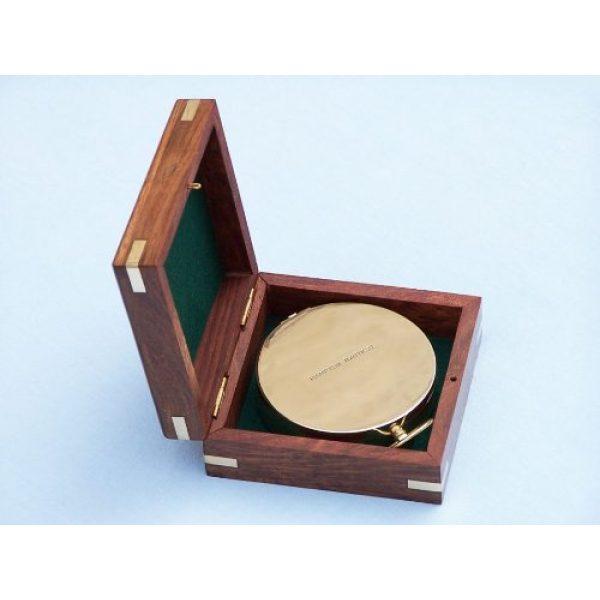 "Hampton Nautical Survival Compass 6 Hampton Nautical Solid Brass Gentlemen's Compass with Rosewood Box, 4"", Brass"