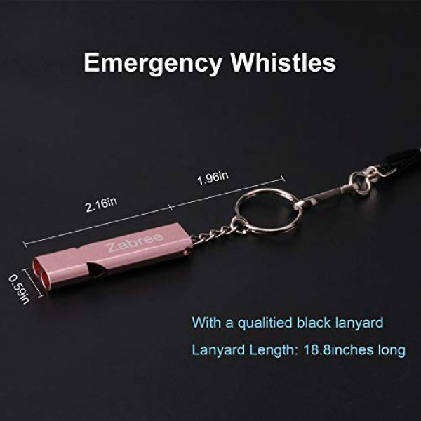 Zabree Survival Whistle 5 Zabree Emergency Whistle, 120DB Whistles with Lanyard, Aluminum Alloy Survival Whistles for Coaches, Pets Training, Outdoor Activities
