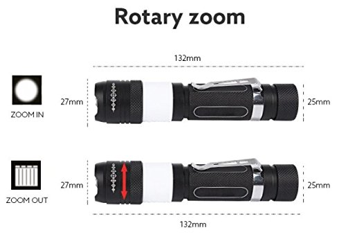 Boss Light  6 Tactical Flashlight USB Rechargeable Zoomable with Red Emergency Lights