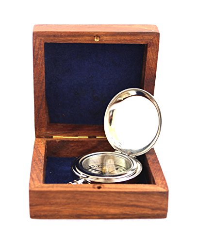collectiblesBuy Survival Compass 3 collectiblesBuy Charming Wooden Box Pocket Compass Nautical Brass Ship Sailor Navigate Maritime Instrument, 2.5 inches, Chrome Finish