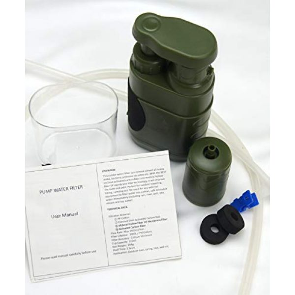 DROP65 Survival Water Filter 6 DROP65 Water Filter Filtration Purifier Portable Hand Operated Pump Purification System for Backpacking Survival Camping Hiking Emergency Disaster for Home or Outdoors