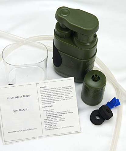 DROP65  6 DROP65 Water Filter Filtration Purifier Portable Hand Operated Pump Purification System for Backpacking Survival Camping Hiking Emergency Disaster for Home or Outdoors