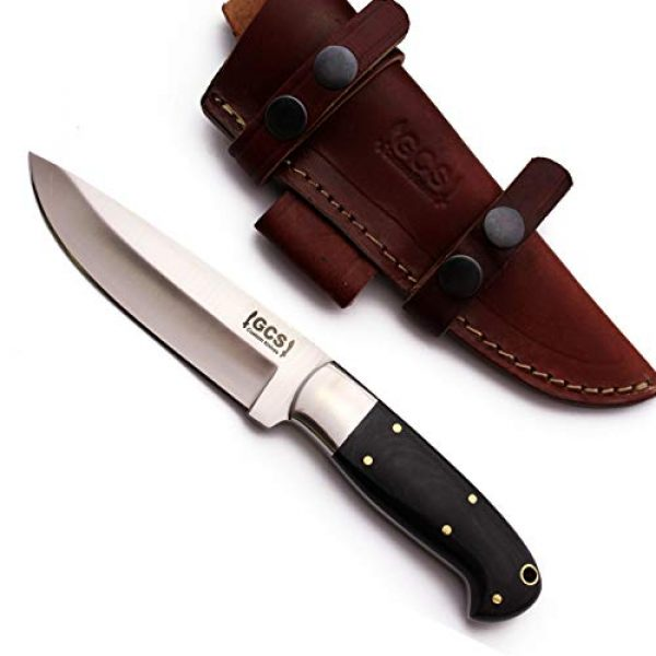 GCS Knives Fixed Blade Survival Knife 4 GCS Custom Handmade Black G10 Handle D2 Tool Steel Knife & Buffalo Hide Sheath GCS201
